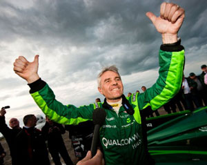 Lord Drayson celebrating his new world electric land speed record
